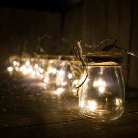 24 LED Glass Mason Jar String Lights (Warm White)