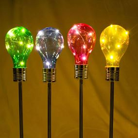 Pack of 4 Solar Powered Multi Coloured Light bulbs