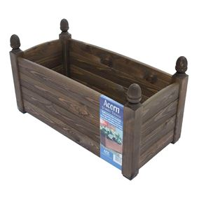 26'' Solid Acorn Trough Chestnut Stain Wooden Garden Planter