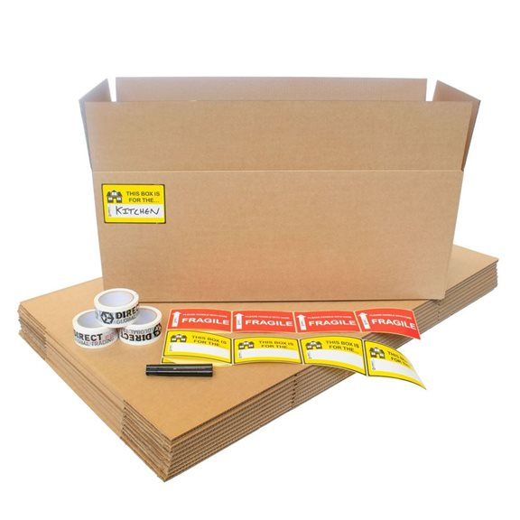 10 Extra Long Cardboard House Moving Boxes Kit Tape Pen