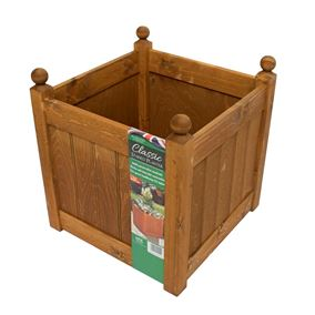 18'' Classic Beech Stain Wooden Planter Trough with Plastic Liner