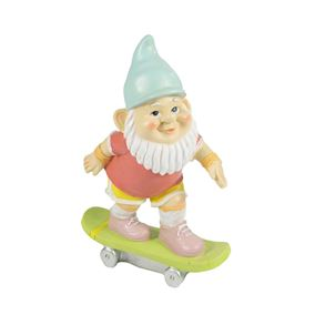 Red Skateboarding Garden Gnome