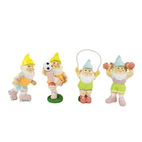Set of 4 Fun Sporty Garden Gnomes