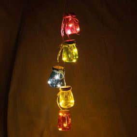 Coloured Mini LED Mason Jar Bundle (Battery Powered)