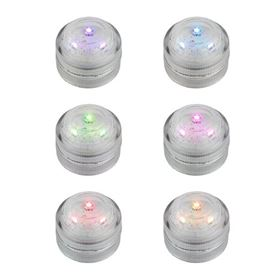 Pack of 6 Submersible Waterproof Colour Changing Tealights Battery Powered