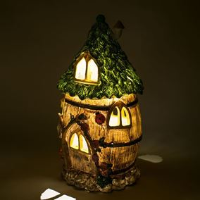 The Willowdale Collection Large Honey Barrel Solar Powered Lit Fairy House