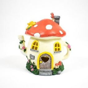 The Willowdale Collection Medium Mushroom Teapot Fairy House Solar Light
