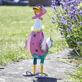 Quacky Duck Colourful Metal Garden Ornament