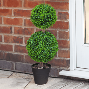 Pack of 2 Duo Topiary Trees in Pots with Pebbles (60cm)
