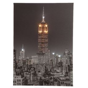Empire State Building New York at Night Lit Wall Canvas