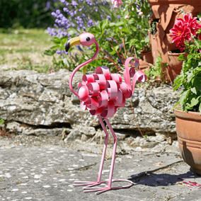 Florence the Flamingo Colourful Metal Garden Ornament