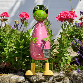 Parka Frog Colourful Metal Garden Ornament