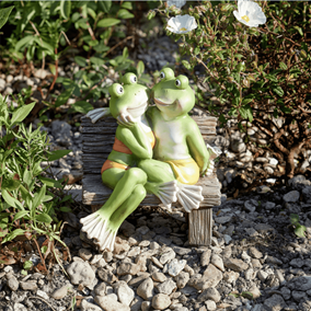 Fromance Romantic Frogs Couple on Bench Garden Ornament