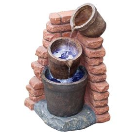 Pouring Pots On Brick Wall Solar Powered Water Feature with Lights and Back Up