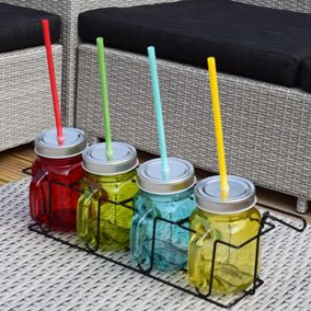 Set of Four Embossed Coloured Jam Jar Drinking Glasses with Straws and Carry Case