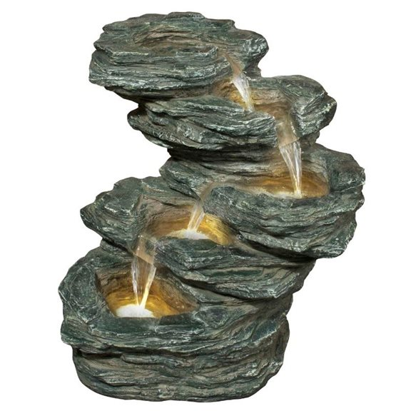 Gold Canyon Slate Falls Water Feature with LED Lights