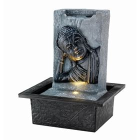 Grey Buddha Head & Body on Wall Indoor Water Feature