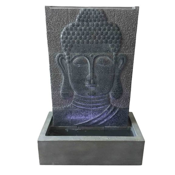 additional image for Grey Buddha Wall Water Feature with LED Lights