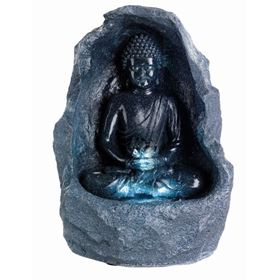 Grey Buddha in Surround LED Lit Water Feature