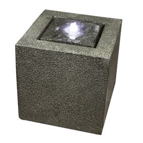 Grey Granite Cube Modern Water Feature with LED Lights