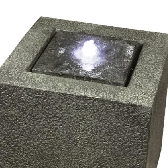 additional image for Grey Granite Cube Modern Water Feature with LED Lights