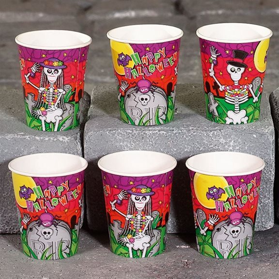 Pack of 6 Skeleton Halloween Party Cups