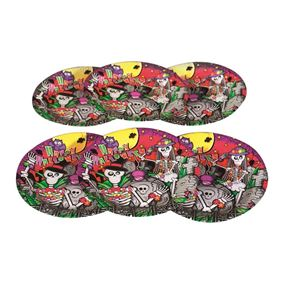 Pack of 6 Skeleton Halloween Party Plates