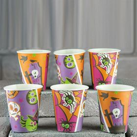 Pack of 6 Funky Orange and Purple Halloween Party Cups