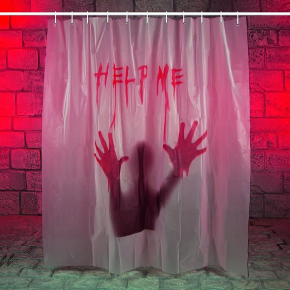 Additional Image For Creepy Help Me Bloody Shower Curtain Halloween Decoration