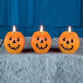 Set of 3 Mini Pumpkin Candles Halloween Decoration