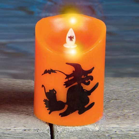 Small Dancing Halloween Flame Candle With Witch Design