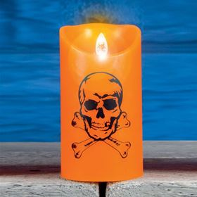 Medium Dancing Halloween Flame Candle Skull Design
