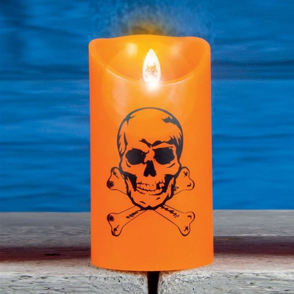 additional image for Medium Dancing Halloween Flame Candle Skull Design