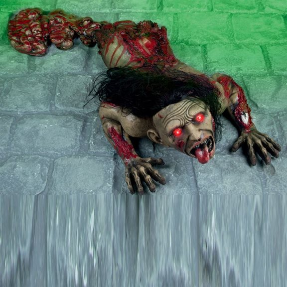 Gruesome Crawling Torso Animated Halloween Display With Red LED Eyes