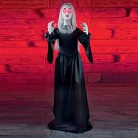 Scary Animated Gothic Woman Halloween Display With Flashing Red Eyes