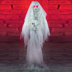 Spooky Animated Zombie Bride Display With Flashing Red Eyes