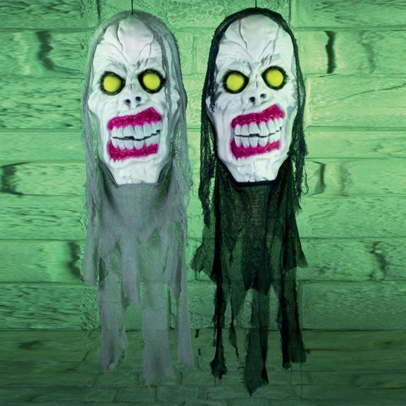 Super Scary Light up Grey Cloth Head Halloween Display