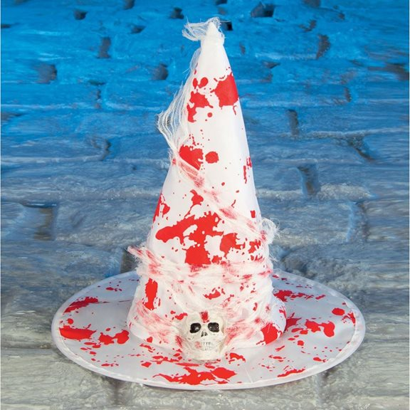Blood Stained White Witches Hat Costume Accessory