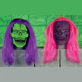 Neon Coloured Scary Rubber Skull Mask with Hair Halloween Fancy Dress