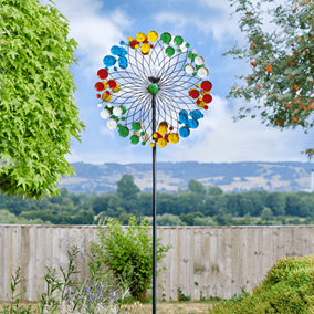 Harlequin Giant Garden Wind Spinner with Solar Powered Colour Changing Crystal Ball