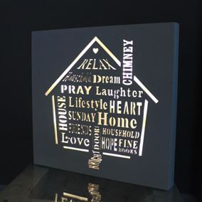 Home Lit Words Wall Art Sign Battery Powered