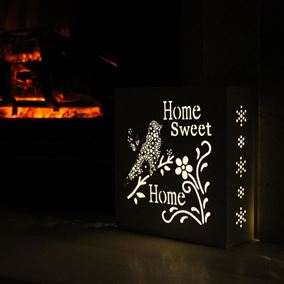 Home Sweet Home Pre Lit White Wall Art