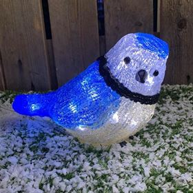 Battery Powered Outdoor LED Acrylic Blue Tit with Timer