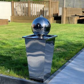 Tidal Stainless Steel Sphere on Tapered Column Modern Water Feature with LED Lights