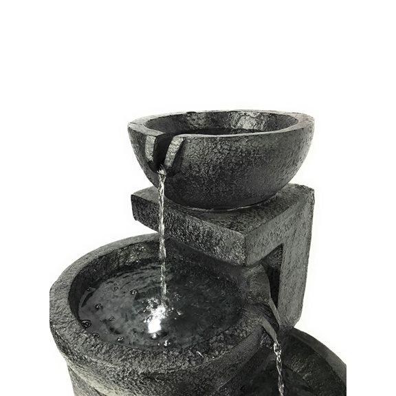 additional image for Solar Powered Charcoal Fountain Water Feature with LED Lights
