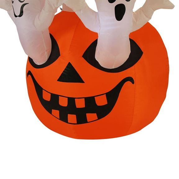 additional image for Spooky Ghosts Rising From Pumpkin Halloween Inflatable With Lights