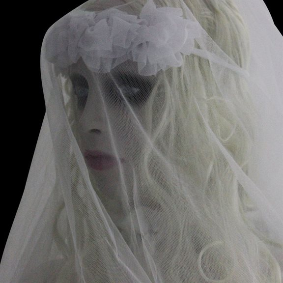 additional image for Spooky Animated Zombie Bride Display With Flashing Red Eyes