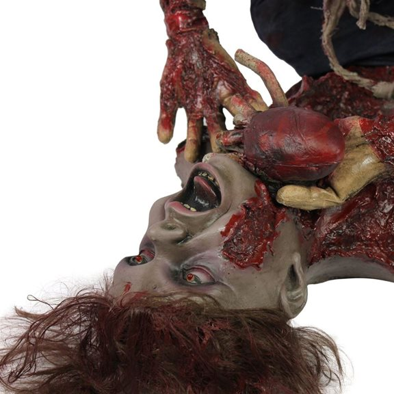 additional image for Zombie Woman With Gory Body Parts Eating Victim With Red LED Eyes