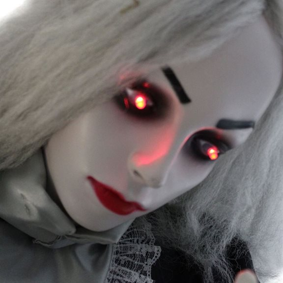additional image for Scary Animated Gothic Woman Halloween Display With Flashing Red Eyes