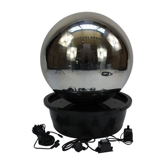 additional image for 60cm Sphere Stainless Steel Water Feature with LED Lights